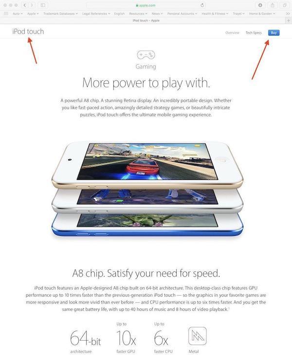 Apple vuole dare ad iPod touch il volto di una console di gioco
