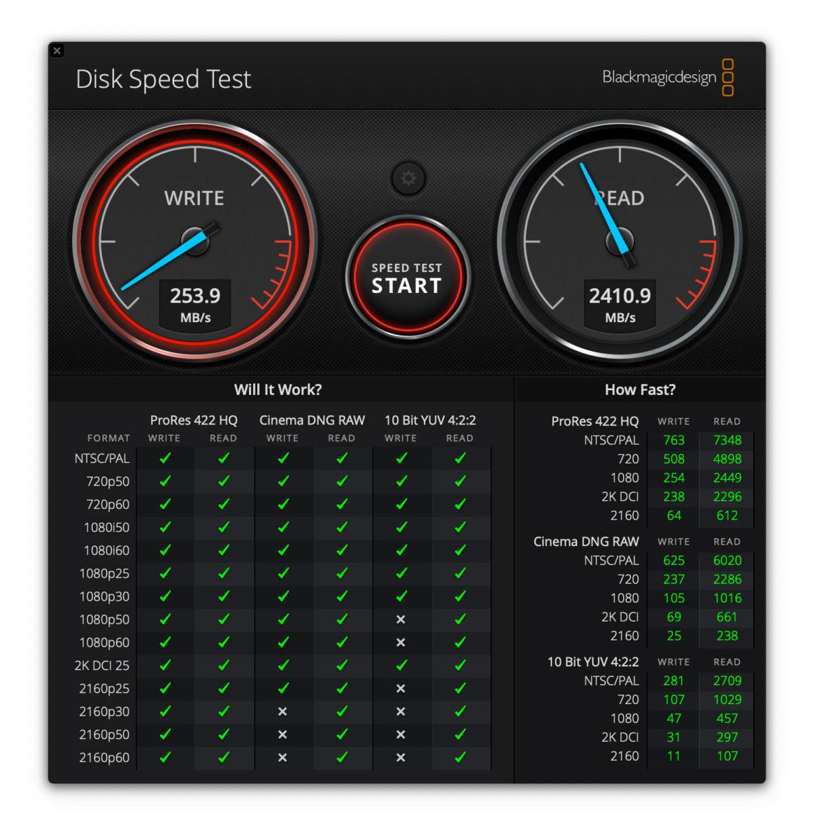 """Il test con l'utility DiskSpeedtest su un MacBook Pro 13"""" 2017 senza digitare il comando che rallenta l'unità SSD"""