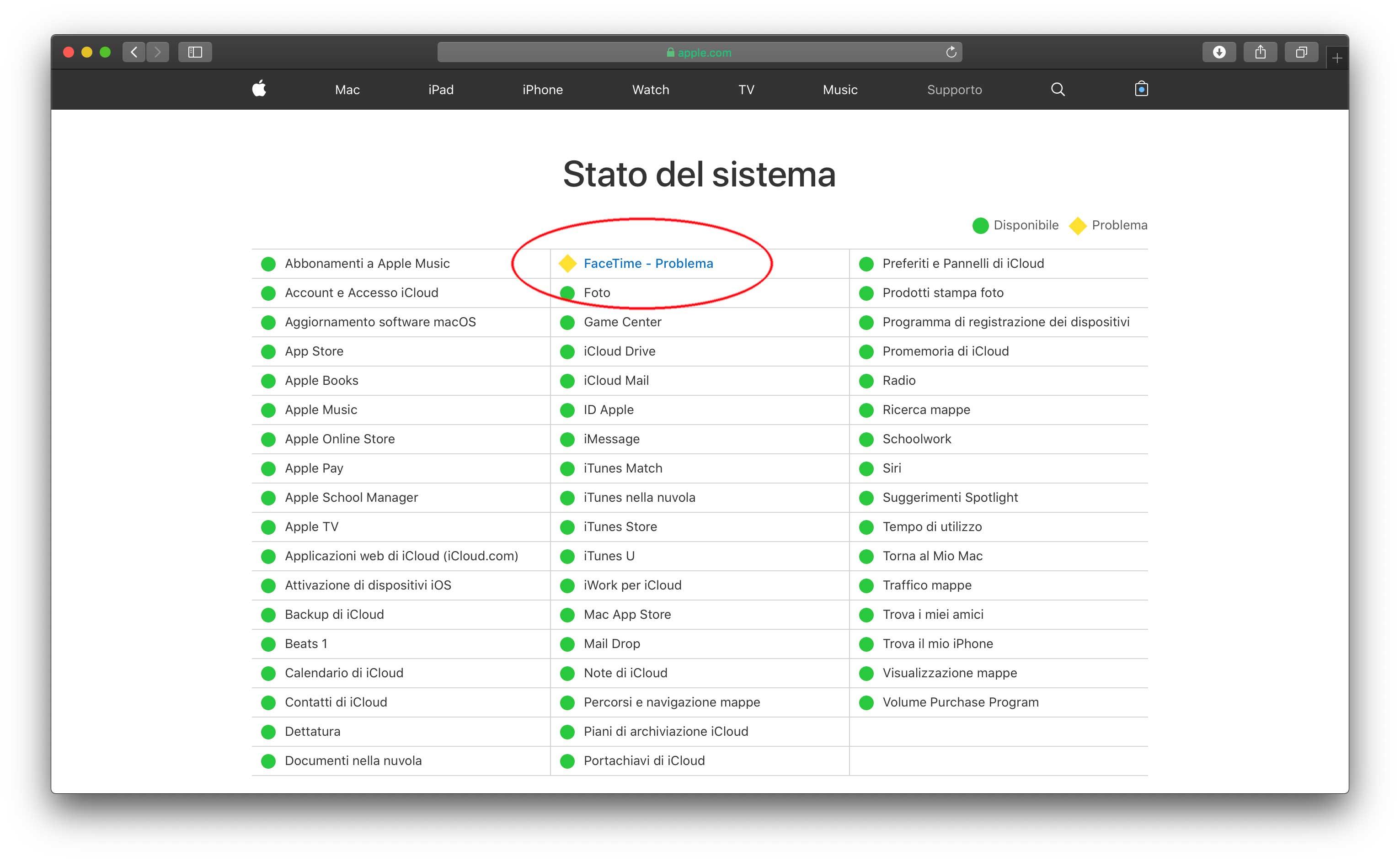 La pagina web di Apple con le indicazione sullo