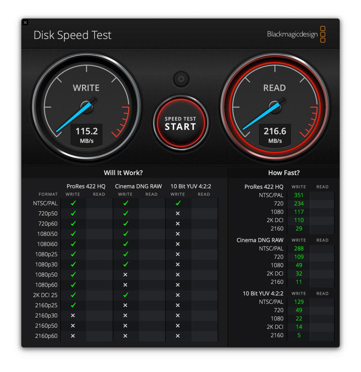 """Prove con l'utility Disk Speed Test su un MacBook Pro 13"""" 2017 dopo aver digito il comando che permette di rallentare l'unità SSD."""