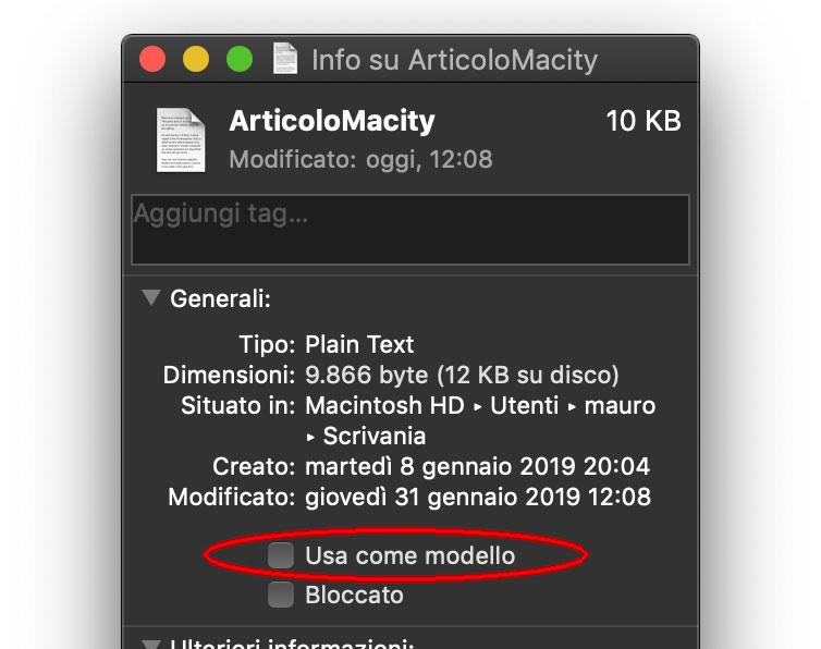 """L'opzione """"Uaa come modello"""" nei file del Finder permette di creare al volo una copia su cui lavorare, senza bisogno di modificare l'originale"""