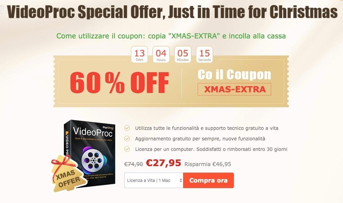Ecco: l'offerta speciale di VideoProc, in tempo per Natale: 60% di sconto sulla licenza a vita