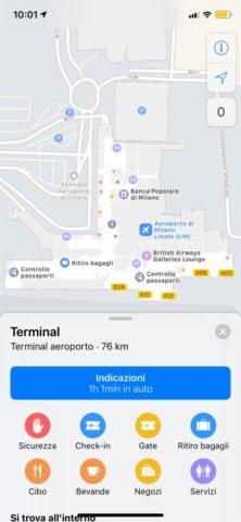 Apple Mappe cresce, ora con le mappe interne di Milano Linate e due outlet italiani