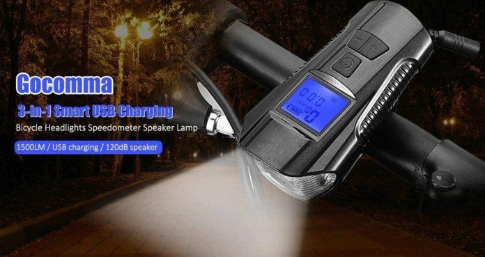 Da Gocomma il contachilometri smart USB  con torcia per bicicletta a soli 11 euro