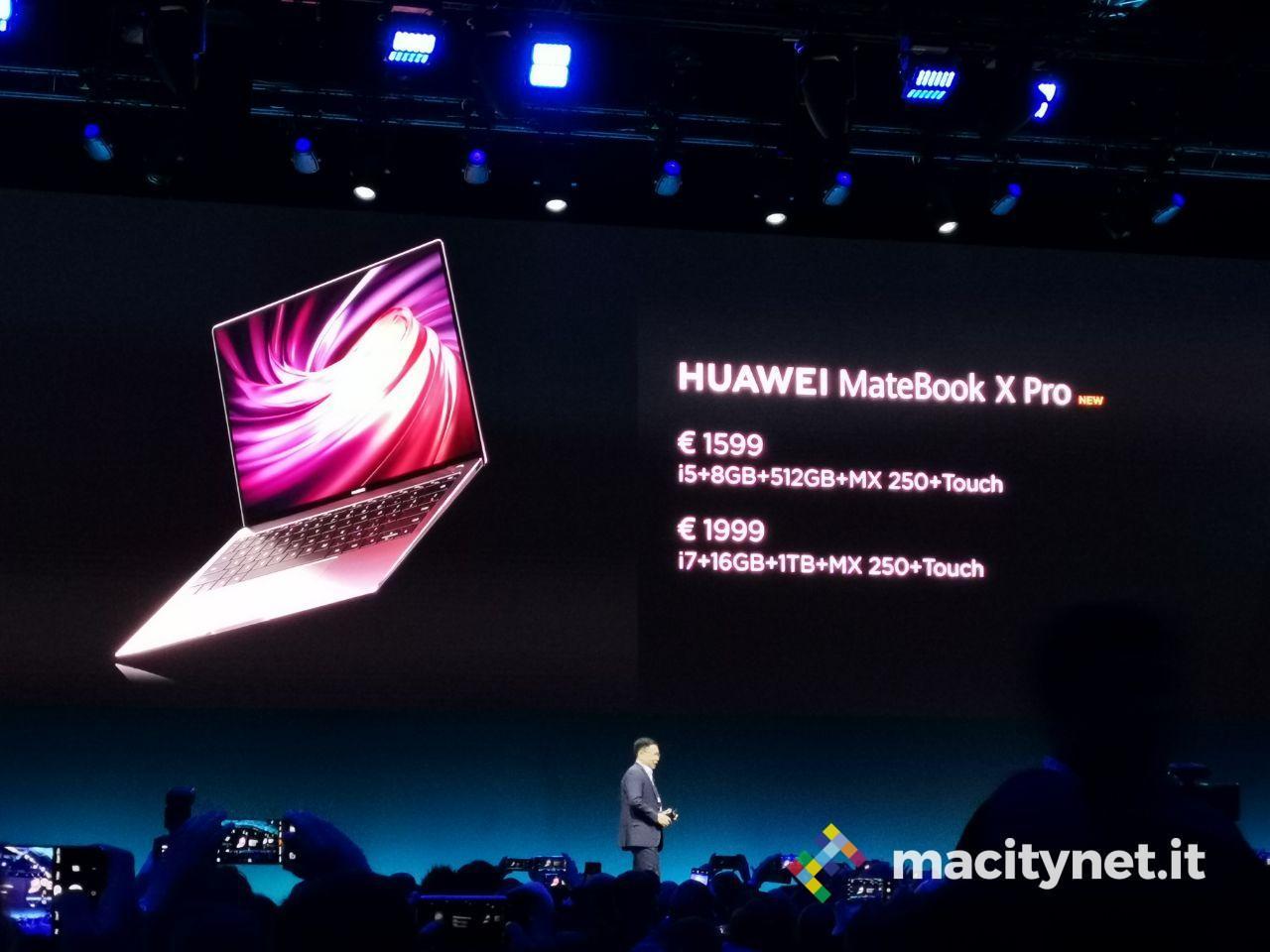 Al MWC 2019 Huawei Matebook X Pro 2019 , velocissimo e piu sottile di un Macbook Pro
