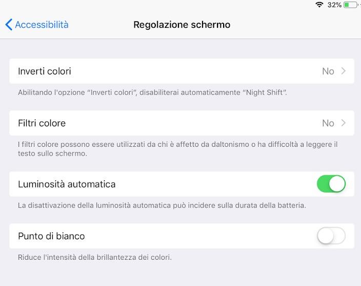 Come disattivare la luminosità automatica su iOS 12