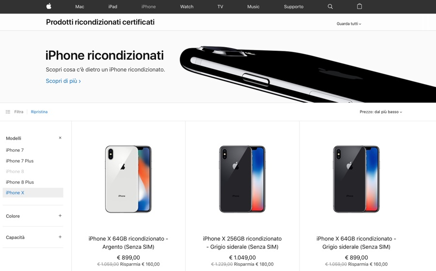 iPhone X ricondizionati per la prima volta disponibili su Apple Store online