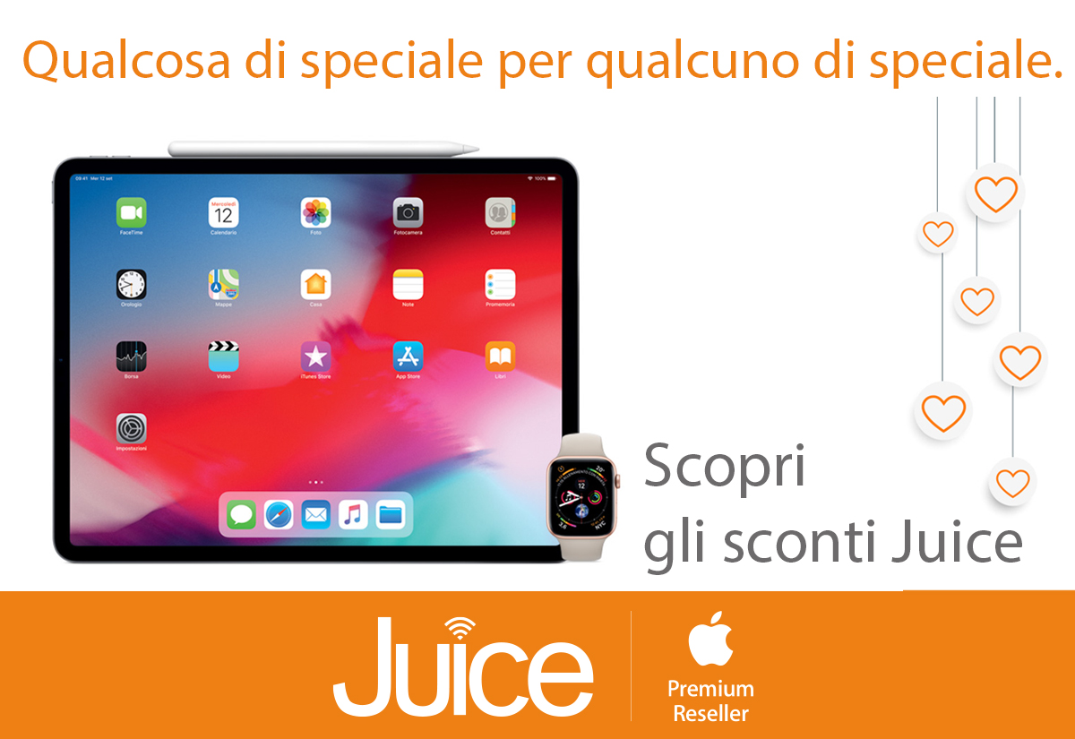 Juice per San Valentino sconta di 50 euro iPad e 30 euro su Apple Watch