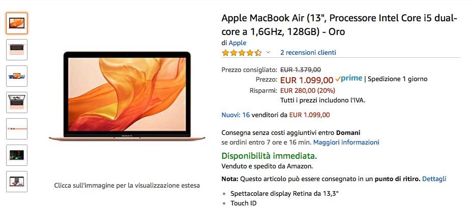amazon sconta MacBook Air 13,3 retina