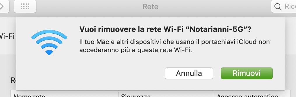 Rimozione rete WiFi dal Mac e tutti i dispositivi che usano iCloud