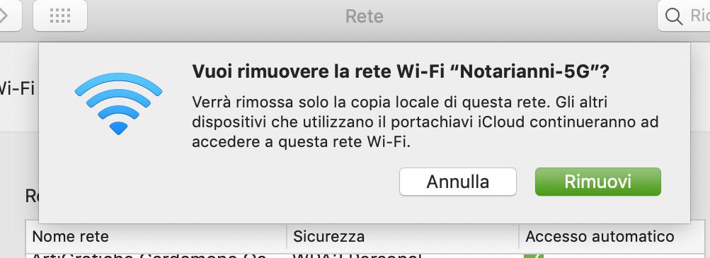 Rimozione rete WiFi solo dal Mac in locale ma non dai dispositivi iCloud