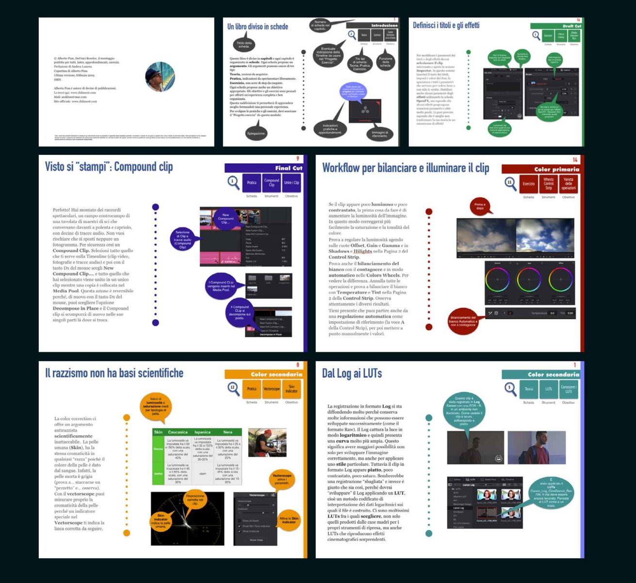 Pagine di esempio. Ogni capitolo è caratterizzato da una colore specifico, ma la struttura delle schede rimane la stessa.