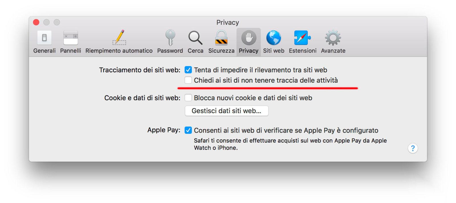 Le Preferenze relative alla Privacy in Safari 12.0