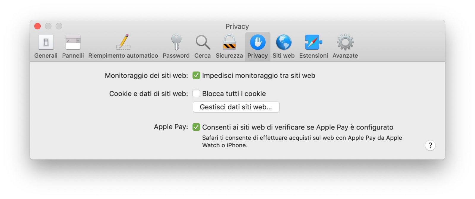 Le Preferenze relative alla Privacy in Safari 12.1