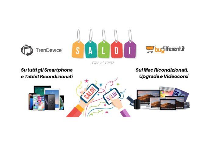 Saldi su TrenDevice e BuyDifferent: Super Sconti su tutti gli Smartphone, Tablet e Mac Ricondizionati. iPhone 7 da 239,90€