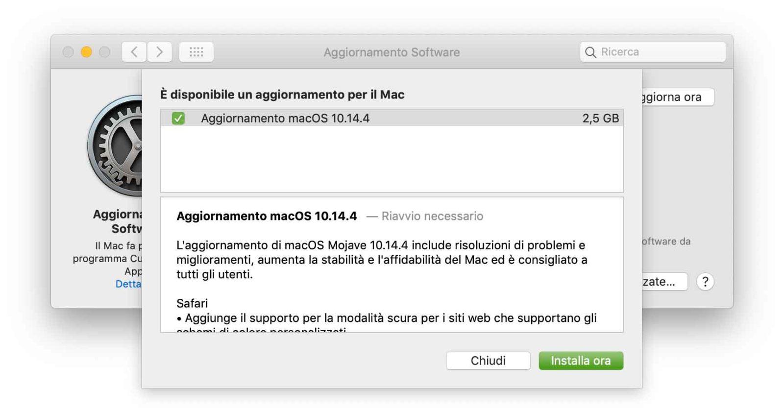Aggiornamento a macOS 10.14.4