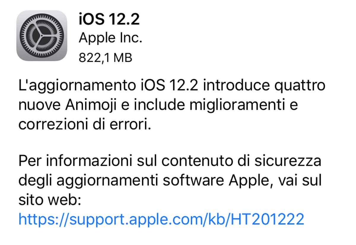 aggiornamento iOS 12.2