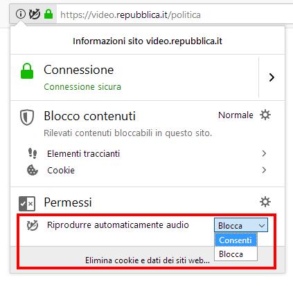 Consentire o bloccare la riproduzione automatica di contenuti multimediali in Firefox