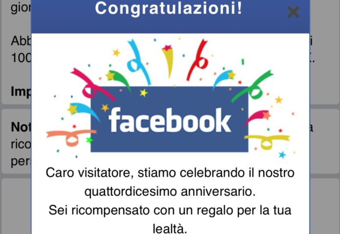 Adware su Macitynet usando Facebook