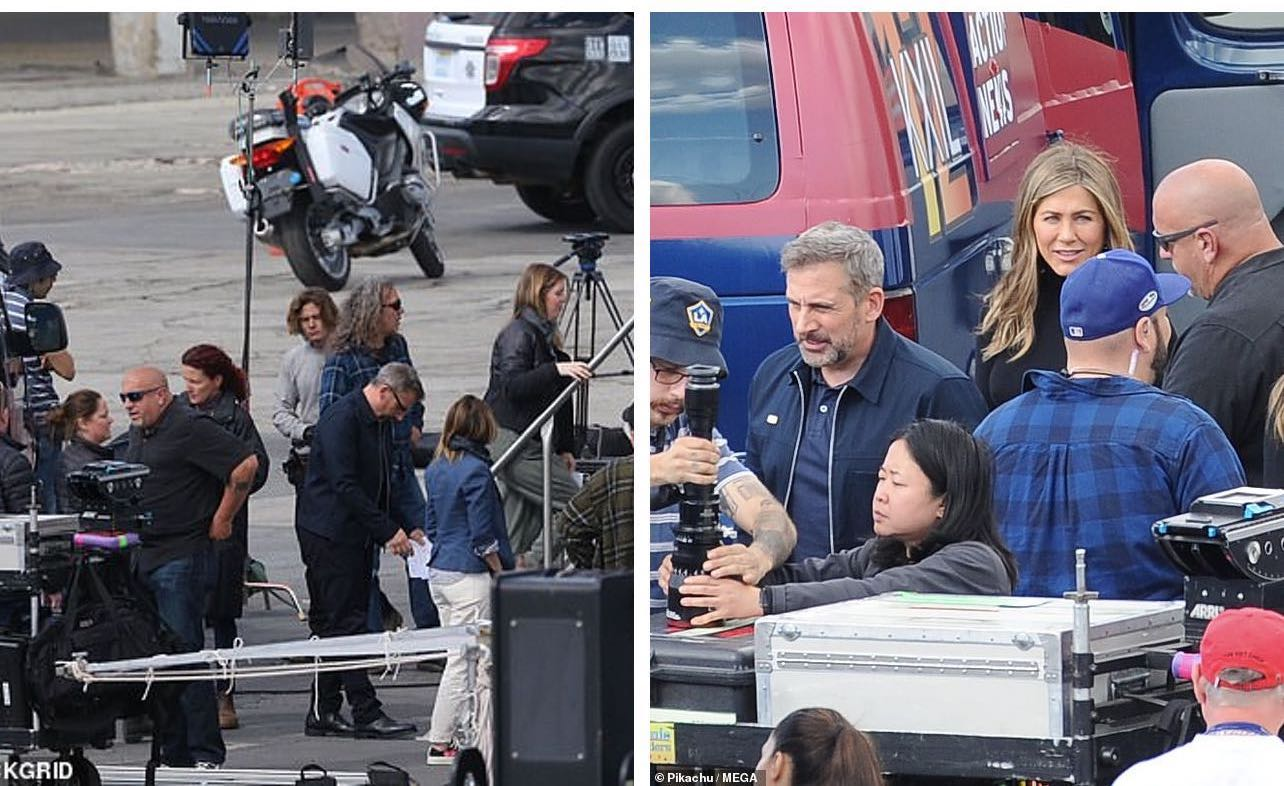 Tv Apple in streaming, foto da un set con Steve Carrel e Jennifer Aniston