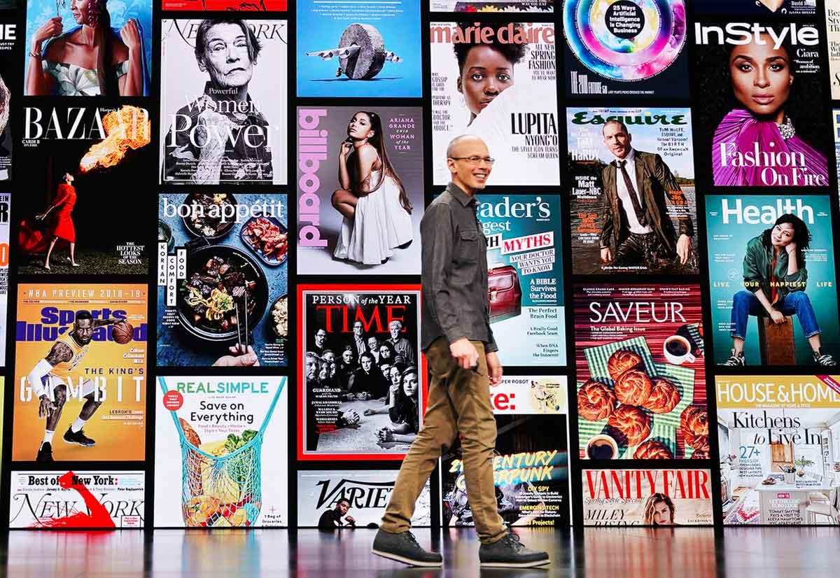 Roger Rosner presenta Apple News+, servizio in abbonamento che offre un'esperienza personalizzata e curata all'interno dell'app Apple News.