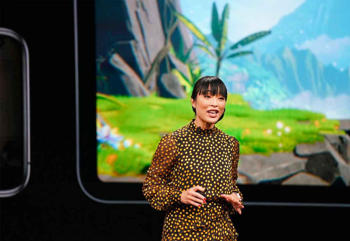 Ann Thai presenta Apple Arcade, un nuovo servizio di game in abbonamento che verrà lanciato in autunno.
