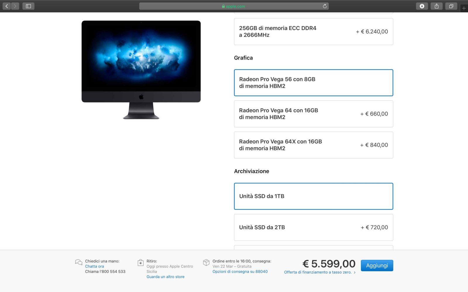 Configurazione iMac Pro