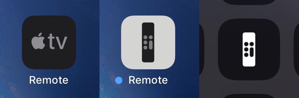 A sinistra la vecchia icona dell'app Apple TV Remote, al centro la nuova icona di Apple TV Remote e, a destra, l'icona del telecomando di Apple TV nel Centro di Controllo - Foto: Macg
