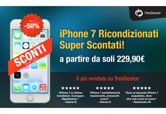 iPhone 7 Ricondizionato: il più amato e acquistato su TrenDevice. È il migliore per rapporto qualità-prezzo e con gli Sconti di oggi è ancora più conveniente!