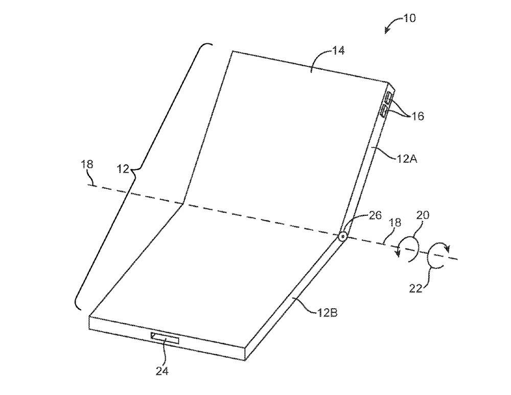Disegno di un vecchio brevetto di Apple. I primi brevetti noti registrati dalla Mela risalgono al 2014.