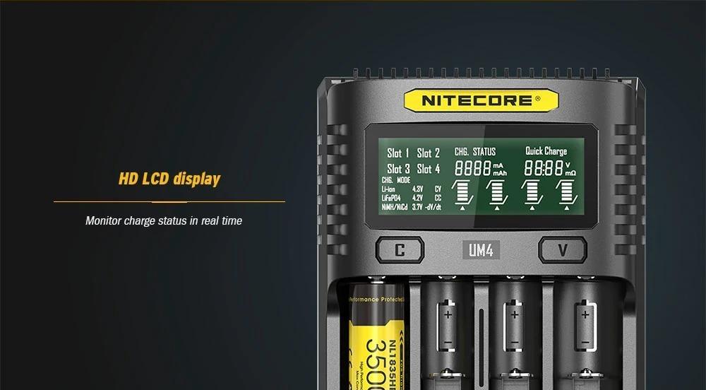 NITECORE UM4, il comodo caricabatterie Li-ion e Ni-MH / Ni-Cd a soli 22 Euro