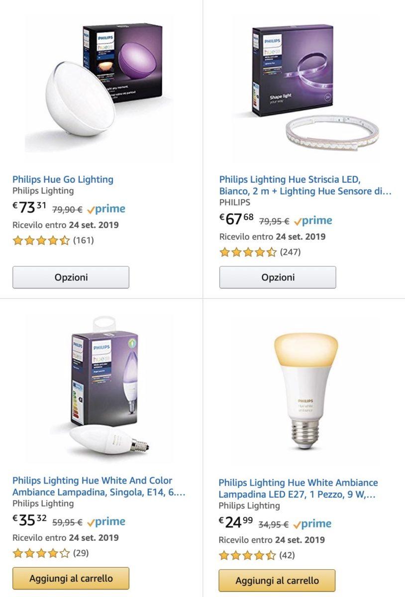 Sconto del 15% su prodotti Philips Hue già scontati e compatibili Alexa e HomeKit
