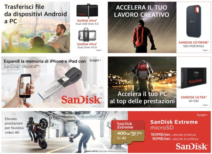 Tornano i SanDisk Days su Amazon: offerte su Memorie Flash, SSD, USB, SD Card