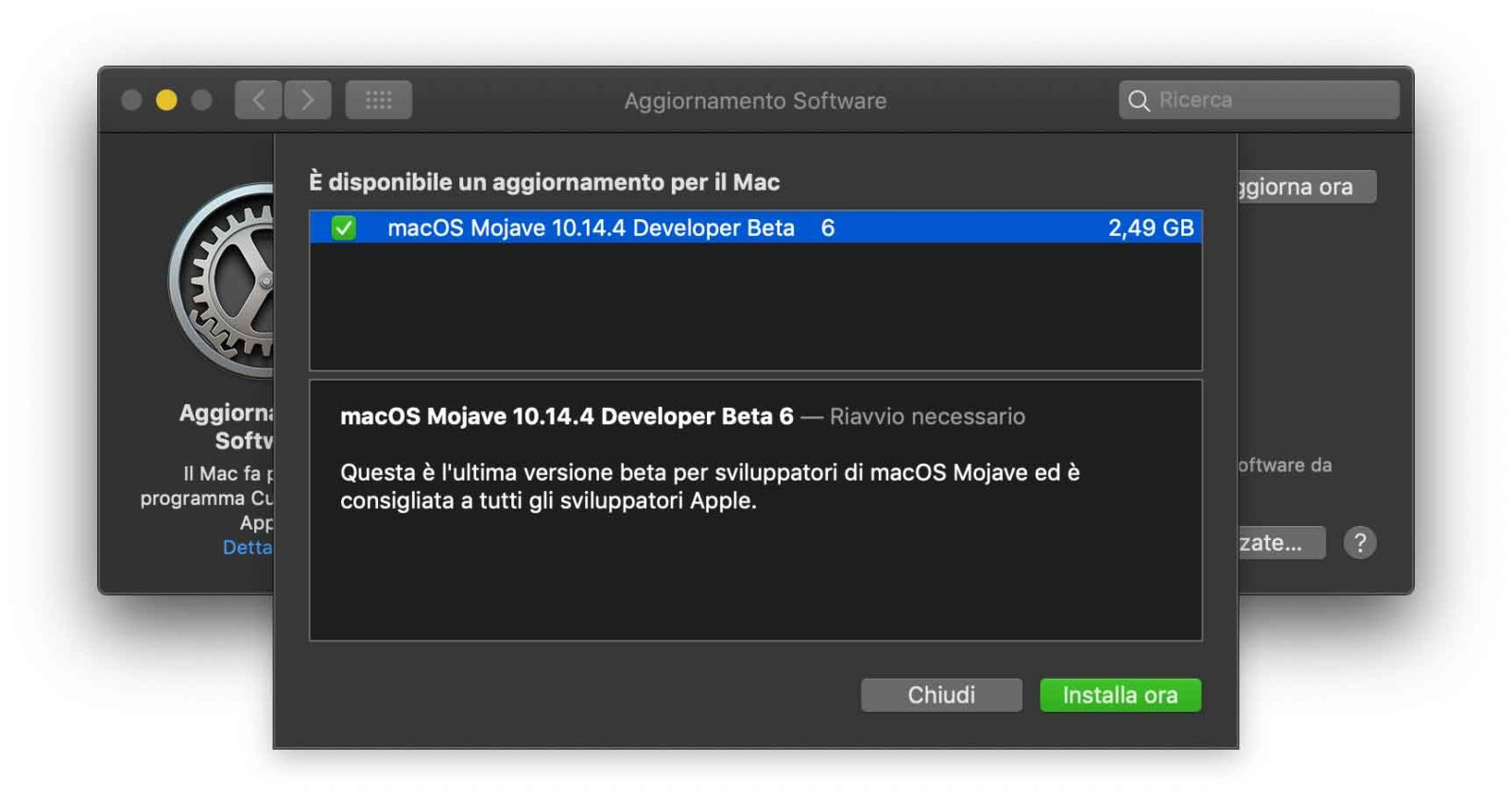 Sesta beta di macOS 10.14.4 agli sviluppatori