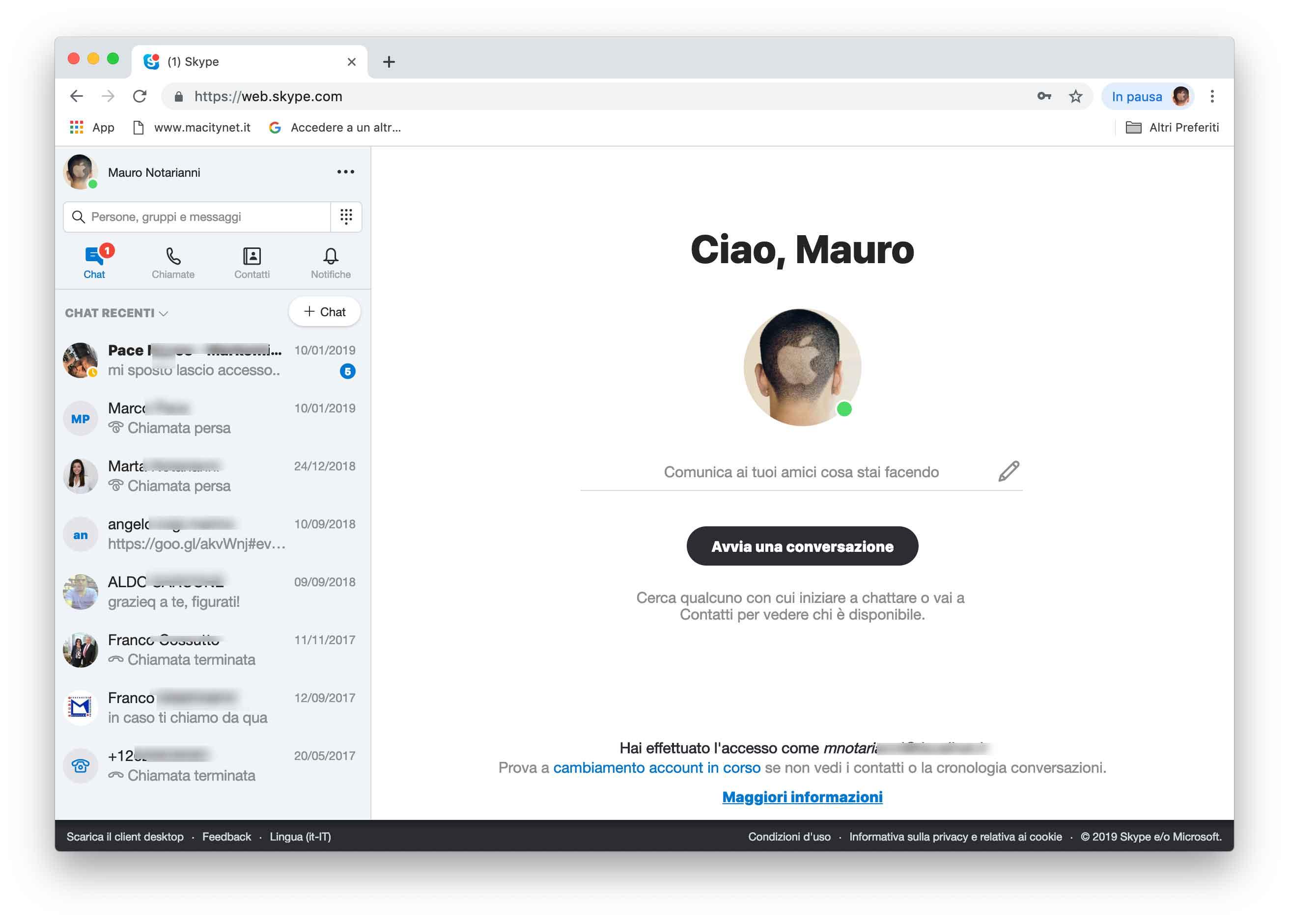 vecchia versione di skype per mac