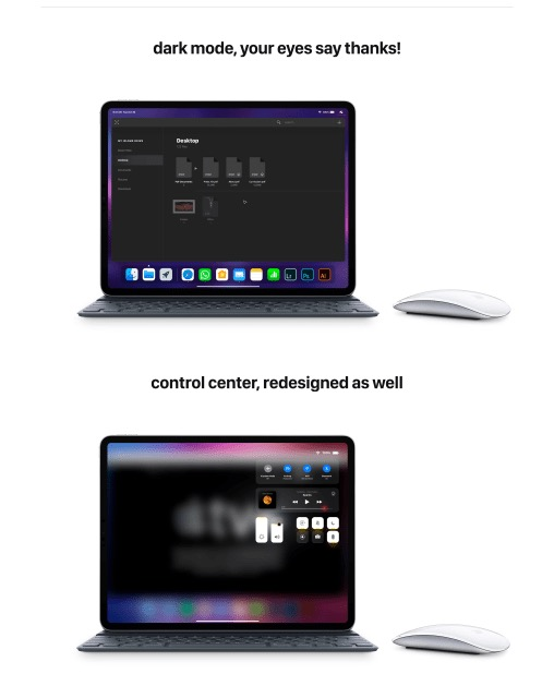 iOS 13 immaginato con supporto al mouse e multitasking avanzato