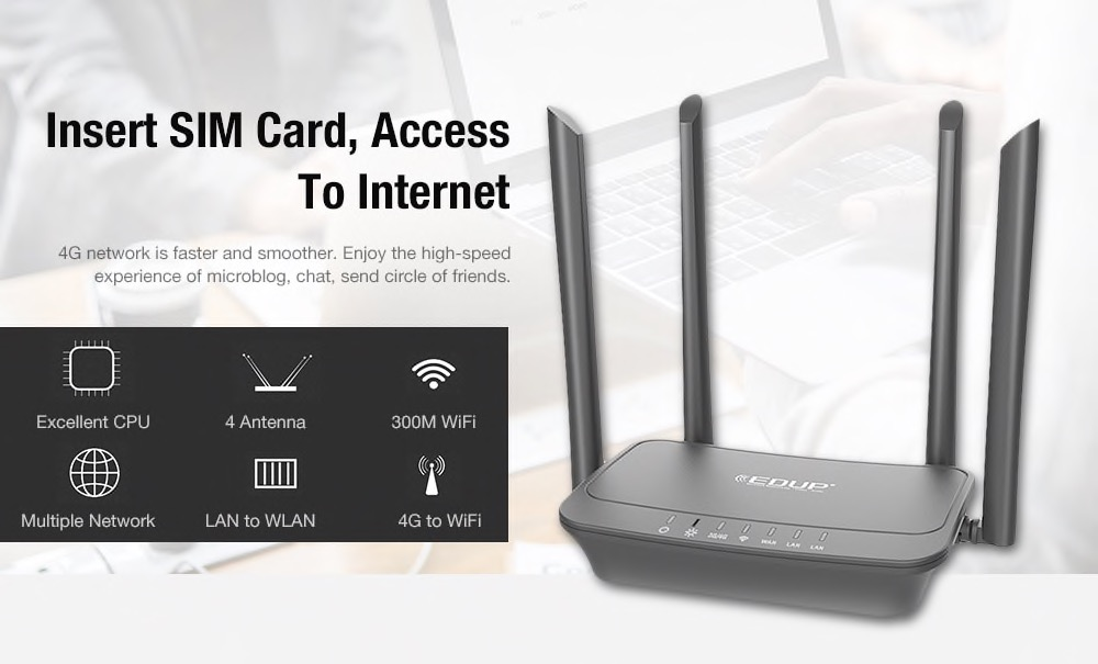 Smart Router wireless EDUP R102, 300 Mbps di potenza e supporto 4G