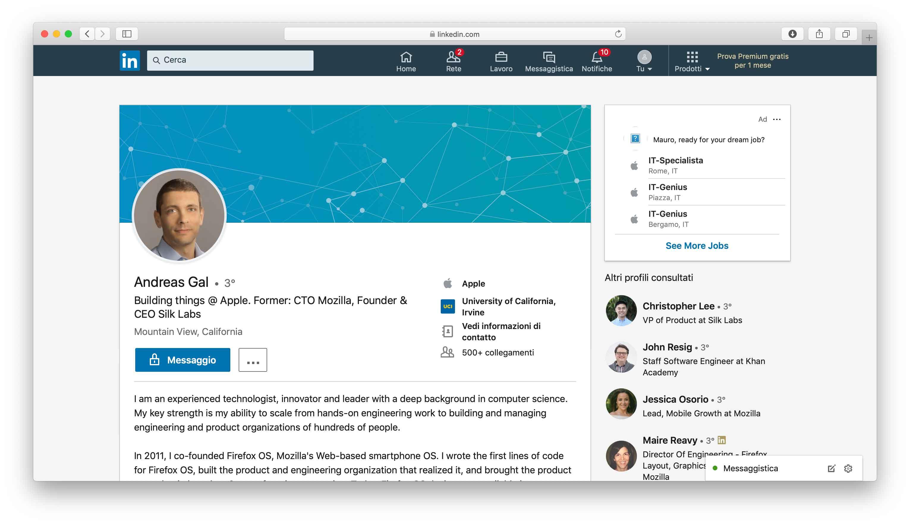 Profilo Andreas Gal su Linkedin