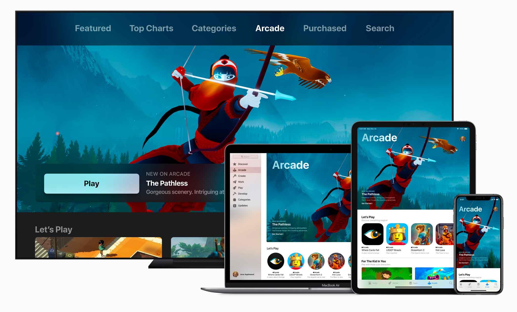 Apple Arcade arriverà questo autunno in oltre 150 Paesi e sarà disponibile in una nuova sezione dell'App Store su iOS, macOS e tvOS.