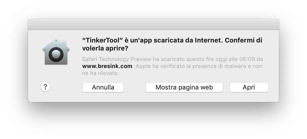 autenticazione app con macOS 10.14.5