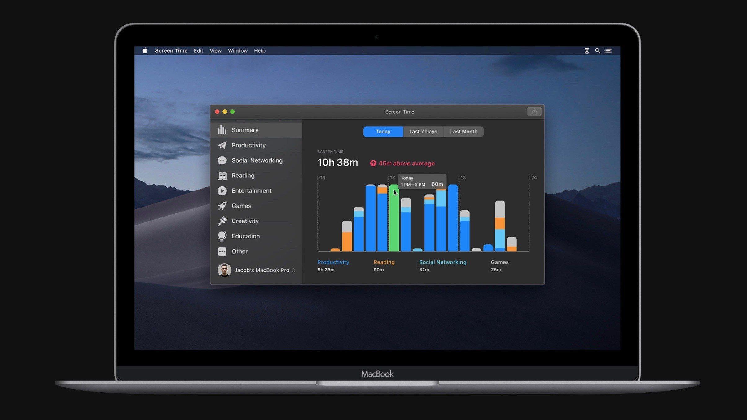 Concept di Screen Time su Mac del designer Jacob Grozian