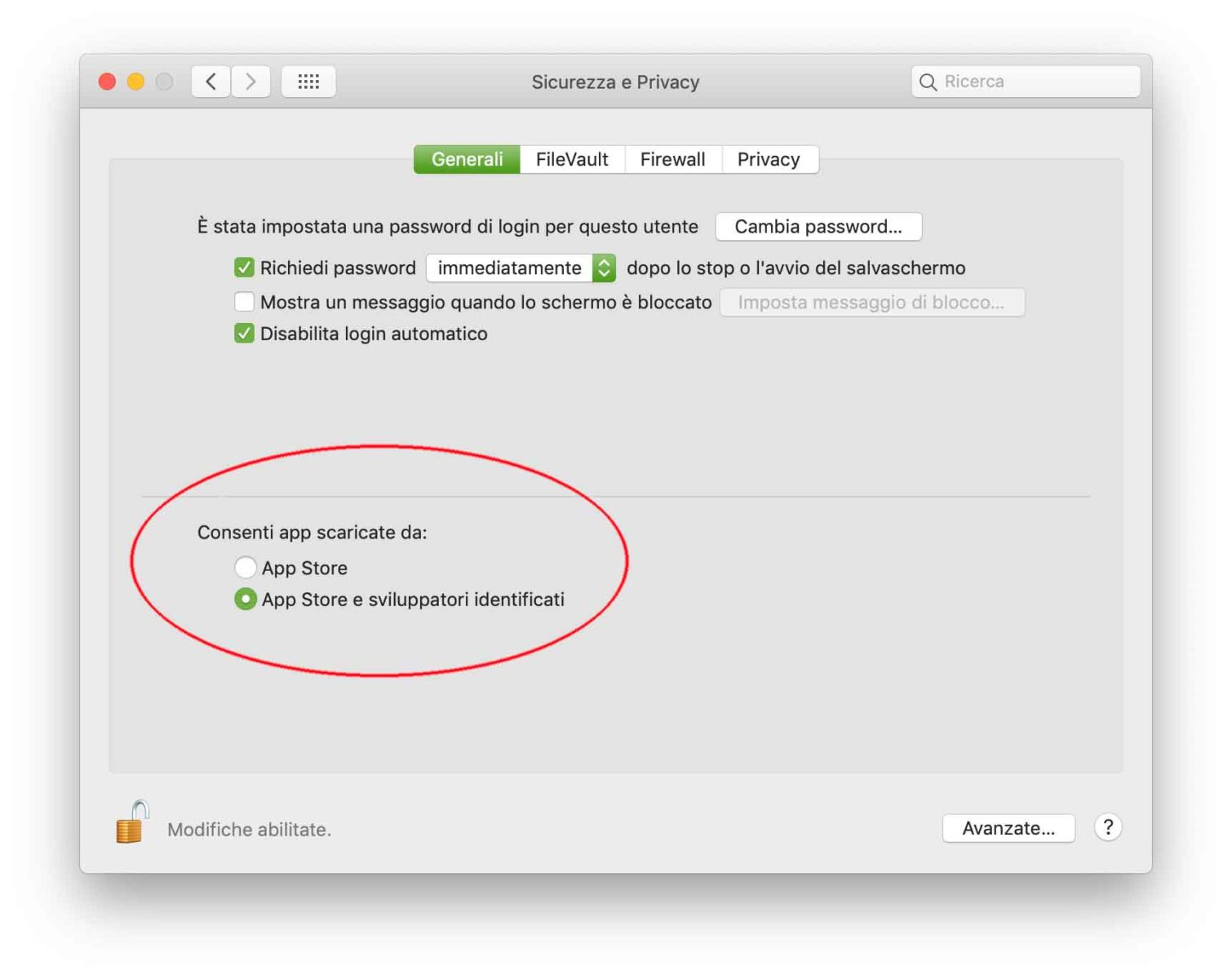 """È possibile proteggere il Mac dai malware consentendo l'esecuzione solo di app che provengono da App Store o da sviluppatori identificati. L'opzione """"App Store"""" consente di eseguire solo app scaricate dal Mac App Store; l'opzione """"App Store e sviluppatori identificati"""" consente di eseguire solo le app scaricate dal Mac App Store e quelli degli sviluppatori identificati da Apple."""