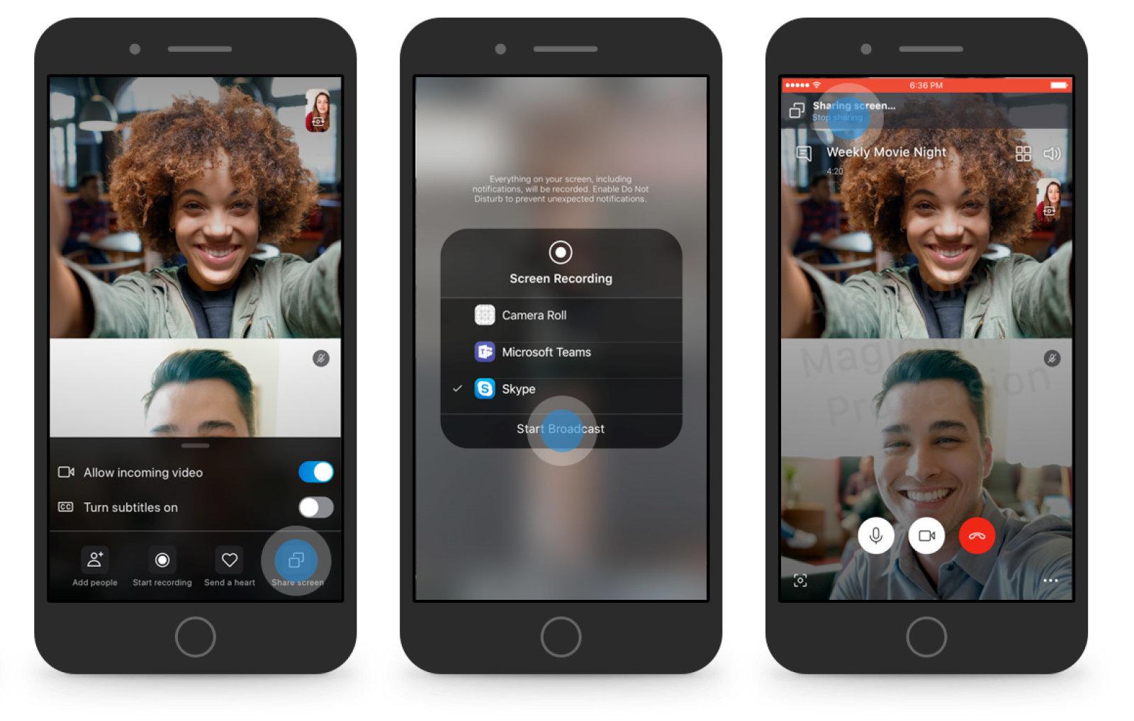 Skype consentirà presto di condividere lo schermo di iOS e Android