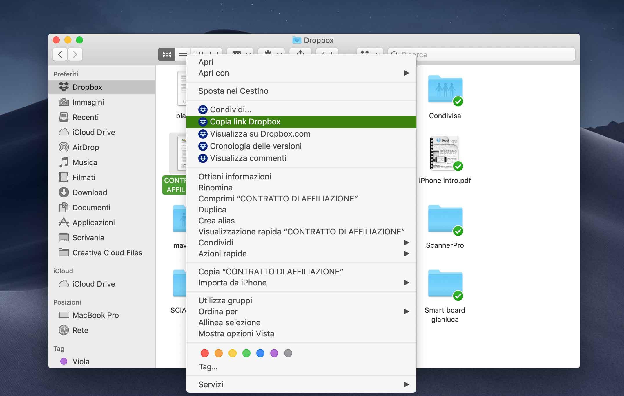 L'integrazione con Finder su Mac consente di vedere le icone di Dropbox nella cartella Dropbox e accedere al menu Dropbox tramite clic con il pulsante destro del mouse.