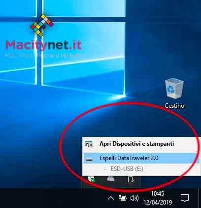 Rimozione disco in Windows 10