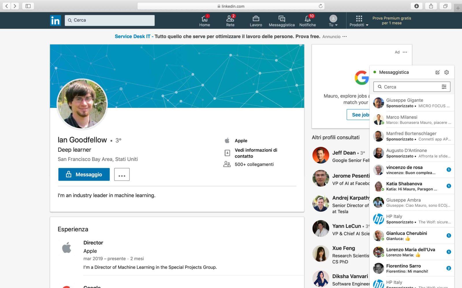 Profilo LinkedIn di Ian Goodfellow