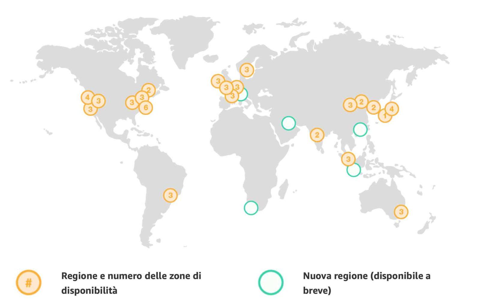 AWS opera in 61 zone di disponibilità distribuite su 20 regioni geografiche in tutto il mondo, con altre 15 zone di disponibilità e 5 ulteriori regioni già annunciate per il prossimo futuro in Bahrein, Città del Capo, Hong Kong, Giacarta e Milano.