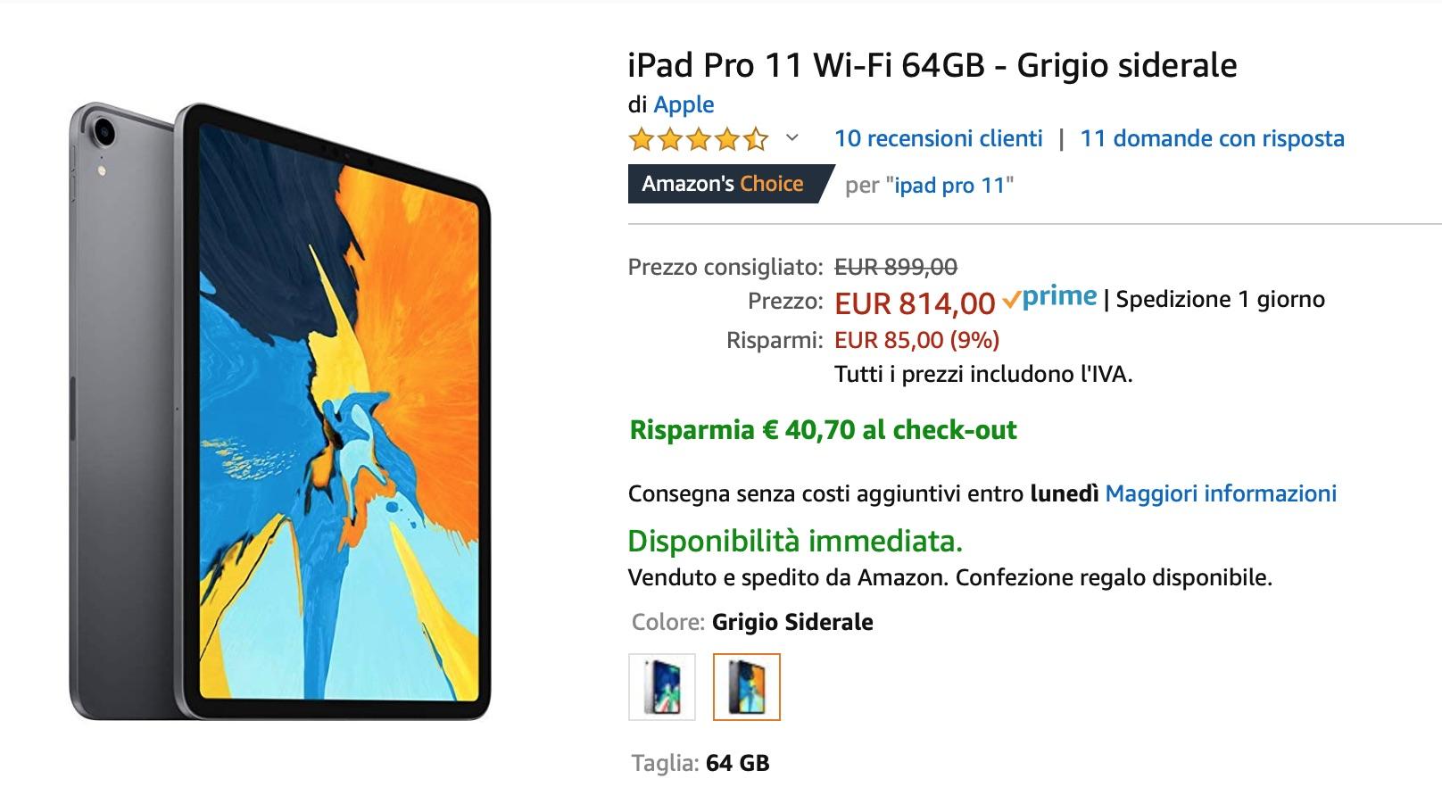 iPad Pro 11″ e iPad 2018 scontati del 16% su Amazon