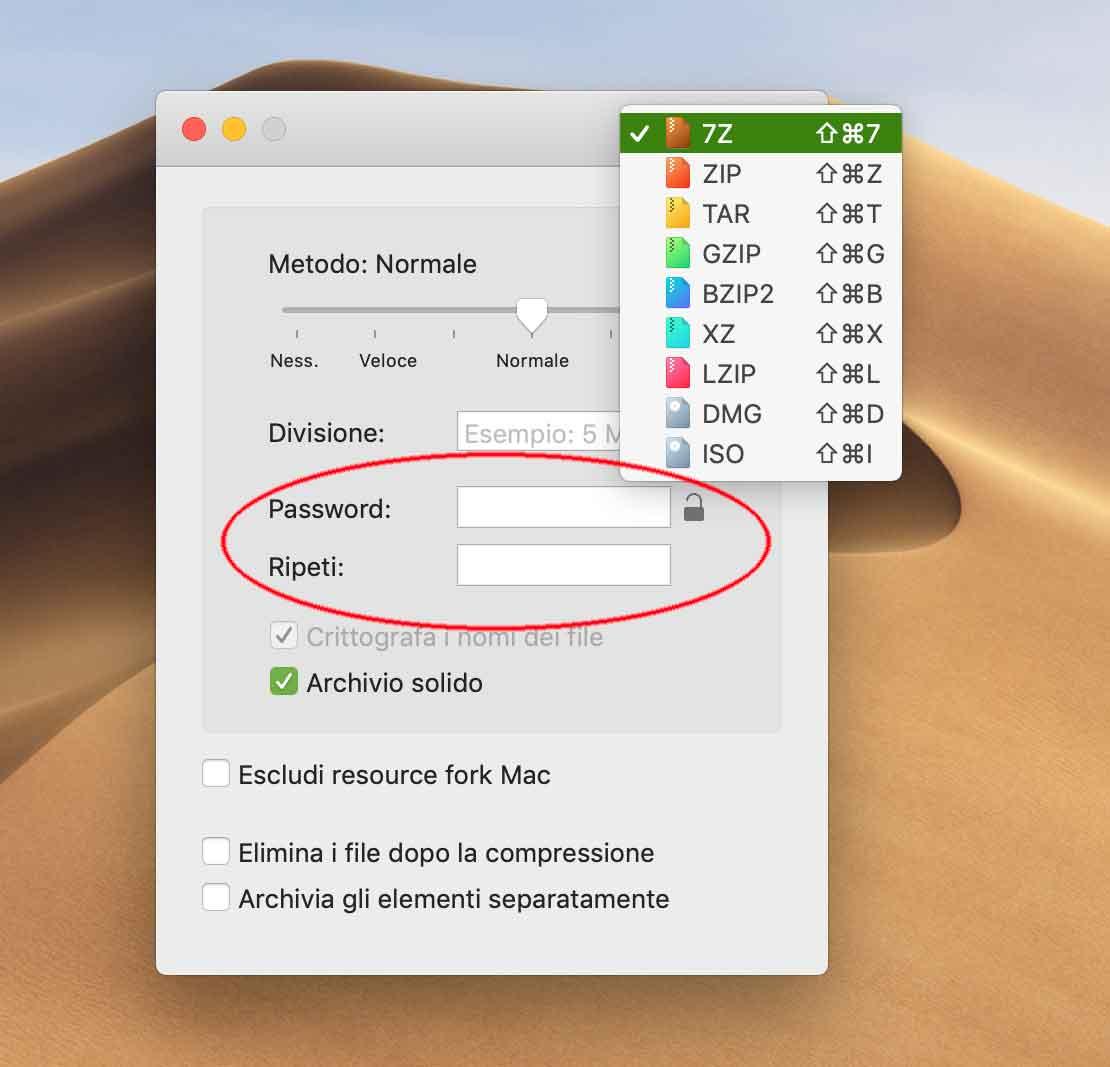 L'utility Keka permette di comprimere file in vari formati creando anche archivi cifrati con password.