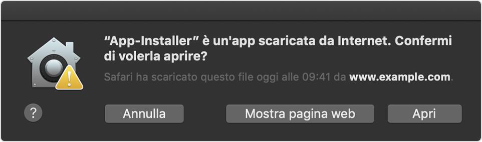 Le app non autenticate mostrano un'icona gialla di avvertimento